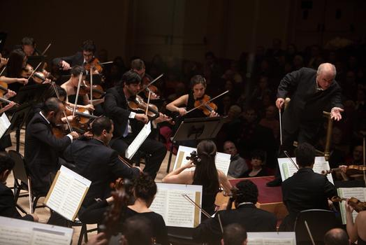 Daniel Barenboim conducts the West-Eastern Divan Orchestra in Beethoven's Symphony No. 2 at Carnegie Hall on Feb. 3, 2013.