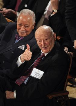 Ed Koch and David Dinkins at Mayor Bloomberg's State of the City address at Morris High School on January 12, 2012 in the Bronx