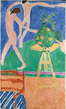 "Henri Matisse (French, 1869–1954.) Nasturtiums with the Painting ""Dance"" I. 1912. Oil on canvas, 75-1/2 x 45-3/8 in. (191.8 x 115.3 cm)"