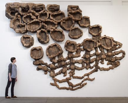 "Ursula von Rydingsvard. Unraveling. Cedar, Graphite, 11'6"" x 18'6"" x 2'5."" 2007. Photo by Michael Bodycomb"