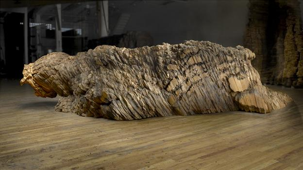 "Ursula von Rydingsvard. Droga. Cedar, Graphite, 4'6"" x 9'7"" x 18'3."" 2009. Photo: Michael and Rosalyn Bodycomb"
