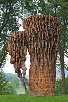 "Ursula von Rydingsvard. Luba. Cedar, Graphite, Bronze, 17'8"" x 11'7"" x 7'4."" 2010. Photo Jerry L. Thompson"