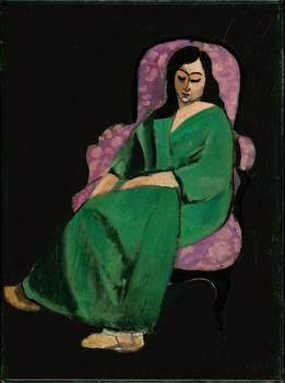 Henri Matisse (French, 1869–1954). Laurette in a Green Robe, Black Background. 1916. Oil on canvas, 28 3/4 x 21 3/8 inches (73 x 54.3 cm)