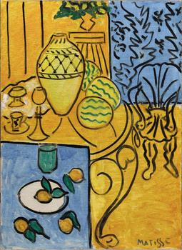 Henri Matisse (French, 1869–1954). Interior in Yellow and Blue. 1946. Oil on canvas, 45 11/16 x 31 7/8 in. (116 x 81 cm)