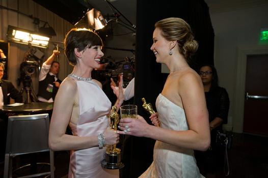Anne Hathaway and Jennifer Lawrence, 2012 (85th) Academy Awards®.