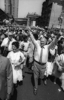 Mayor Ed Koch on Ninth Ave. and 36th street in 1982 after declaring Saturday and Sunday as Ninth Avenue International Festival Days.