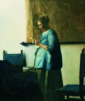 Johannes Vermeer (1632–75), Woman in Blue Reading, c.1663; Oil on canvas, 46.5 x 39 cm (185/16 x 153/8 inches), Rijksmuseum, Amsterdam