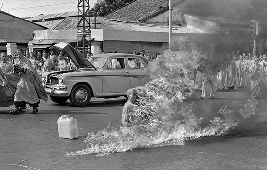 In the first of a series of fiery suicides by Buddhist monks, Thich Quang Duc burns himself to death on a Saigon street