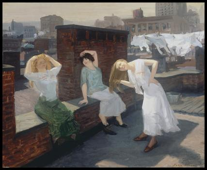 John Sloan (American, 1871-1951), Sunday, Women Drying Their Hair, 1912.