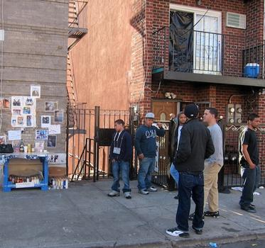 Some of BeeJay's friends gather near where he was shot on Fox and Home streets in the Bronx.