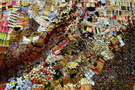 El Anatsui. Detail of a sheet made for possible inclusion in Gli (Wall), 2010. Photo by El Anatsui.