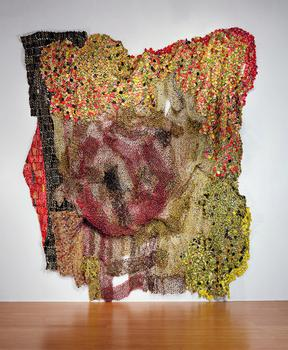 El Anatsui, Thru Puffs of Smoke They Filtered Us, 2011. Photo by Jonathan Greet, Courtesy October Gallery, London.