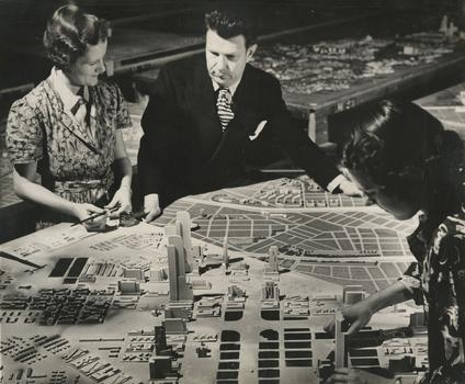Richard Garrison, Bel Geddes with Futurama Diorama, ca. 1939