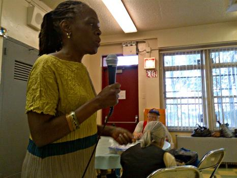 Chirlane McCray pitches to seniors on behalf of her husband public advocate and mayoral candidate Bill de Blasio