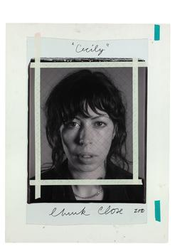 Chuck Close. <em>Cecily/maquette,</em> 2000, black and white Polaroid with ink and tape mounted to foamcore