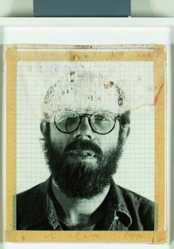 Chuck Close. <em>Self-Portrait/maquette,</em> 1975, b&w Polaroid, masking tape, ink, and acetate, mounted on foamcore