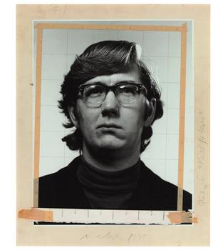 "Chuck Close. From <em>Study for ""Keith/Four times""</em>, 1975, four gelatin silver prints with ink, graphite, and tape, mounted to foamcore"