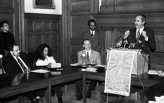Guillermo Linares (far right), the first Dominican elected to public office in New York (City Council, 1991), speaks at Columbia Universitys Teachers College
