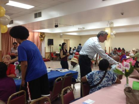 De Blasio's teenage son Dante joined him to greet voters at two senior centers in Brooklyn.
