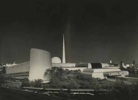 Richard Garrison, GM Highways and Horizons building with obelisk, ca. 1939