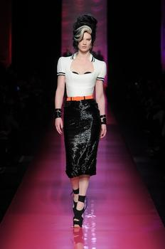 "One of the designs in Jean Paul Gaultier's ""Tribute to Amy Winehouse"" women's haute couture spring-summer collection of 2012"