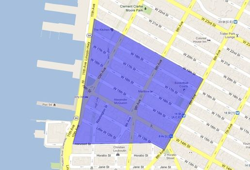 Approximate boundaries of the new free outdoor WiFi zone sponsored by Google and the Chelsea Improvement Zone