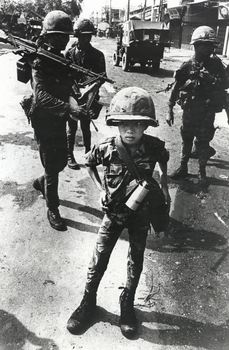 "Called ""Little Tiger"" for killing two ""Vietcong women cadre""—his mother and teacher, it was rumored, Vietnam, 1968"