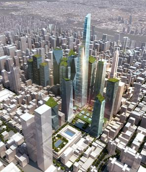 Green-Roofed Towers