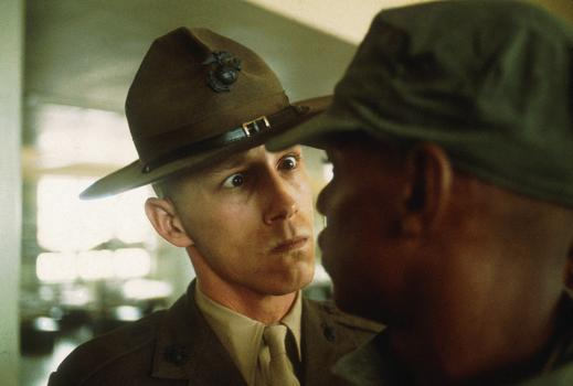 "A US Marine drill sergeant delivers a severe reprimand to a recruit, Parris Island, South Carolina, from the series, ""US Marine Corps boot camp,"" 1970."
