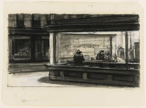 Edward Hopper (1882–1967) Study for Nighthawks, 1941 or 1942.