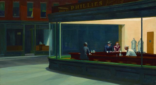Nighthawks, 1942. Oil on canvas, 33 1/8 x 60 in. (84.1 x 152.4 cm)