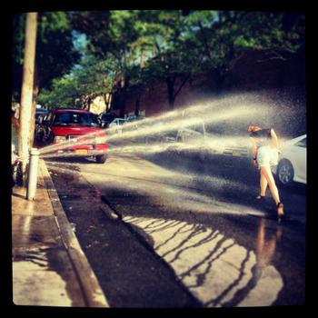 Hydrant with spray cap, 54th Street, Flushing