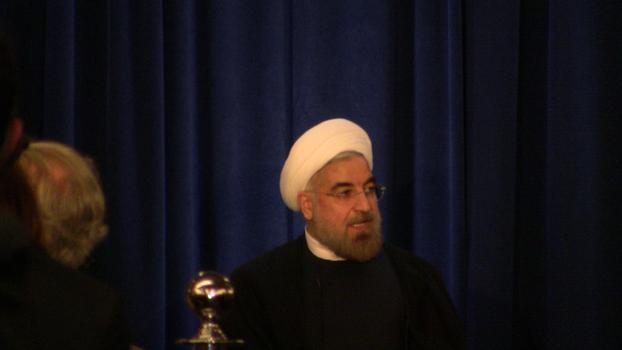 Iranian President Hassan Rouhani at an Asia Society event in Manhattan.