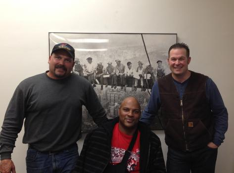Matthew Cochran, Steven Batiste, and Jerry Kubala Jr. at their union headquarters in San Francisco, Ironworkers Local 377