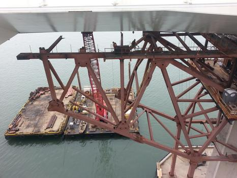 A view of the massive crane from the bridge