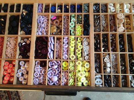 A box of buttons at SewMoni.