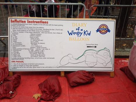 Inflation instructions for the parade's balloons
