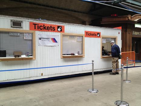 A trailer -- located in the track area -- now houses the ticket windows
