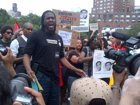 City Councilmember Jumaane Williams leads protest at Union Square against not guilty verdict in George Zimmerman trial.