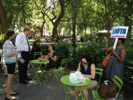 Lhota campaigning at lunch time in Union Square Park.