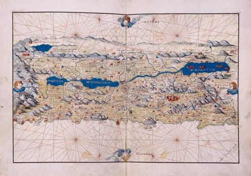 Battista Agnese, Portolano. Folios 15 verso–16 recto, Land Map of Palestine Manuscript, Venice ca. 1552.