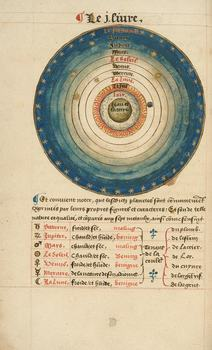 Oronce Fine, De Mundi Sphaera. Folio 8 verso, Diagram of the Sun and the Planets Manuscript, France 1549.