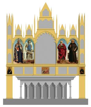 Hypothetical reconstruction of Piero's altarpiece for the Church of Sant'Agostino, Borgo San Sepolcro, showing the position of seven of the altarpiece's eight surviving panels.