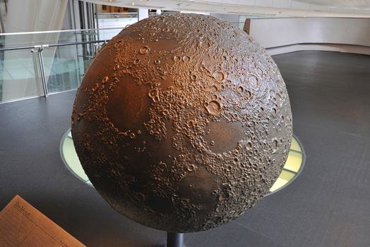 The moon model is on display in the Dorothy and Lewis B. Cullman Hall of the Universe at the Museum of Natural History.