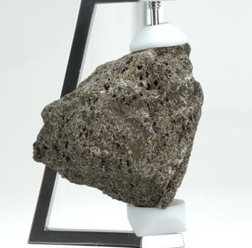 One of four moon rocks on display at the American Museum of Natural History, collected by astronauts during the Apollo lunar missions in the 1970s.