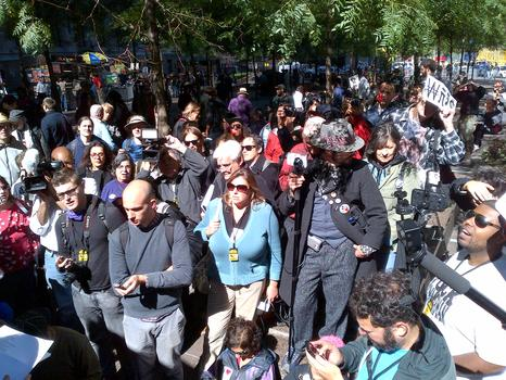 Despite a smaller turnout from Occupy supporters, the media was still there in large numbers.