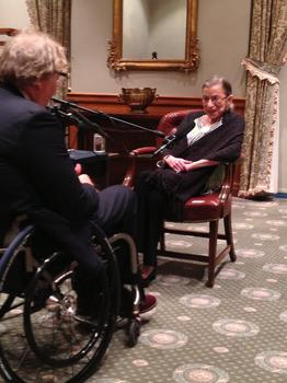 Justice Ruth Bader Ginsburg speaking with John Hockenberry