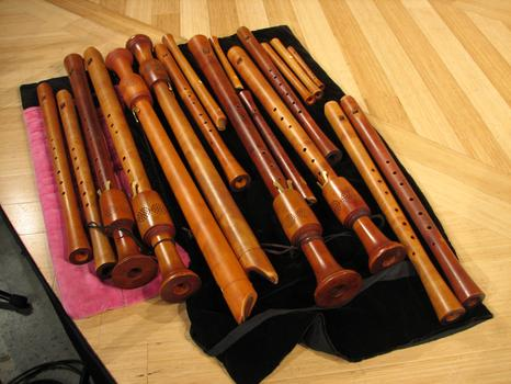 A few of the recorders played by The Royal Wind Music.