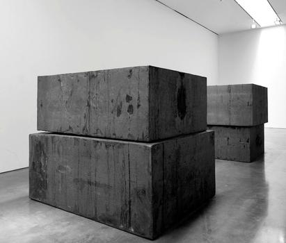 Richard Serra.  Grief and Reason (for Walter), 2013.  Forged Weatherproof steel 2 stacks of 2 blocks. Each block: 66 x 60 x 84 inches / 167.6 x 152.4 x 213.4 cm