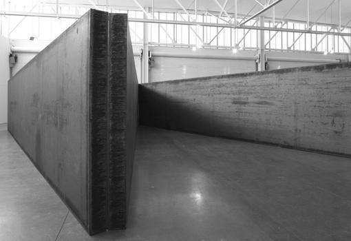 Richard Serra. 7 Plates 6 Angels, 2013. Weatherproof steel.  8 ft. x 81 ft. 10 in. x 43 ft. 5 in. / 2.44 x 24.94 x 13.23 m